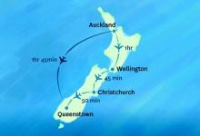 新西兰国内航线的飞行时间都是多少?