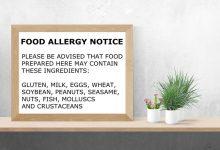 新西兰中餐馆食物过敏提示(警示)模板