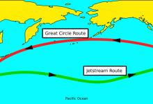 """长途航班的""""大圆航线""""和""""气流航线"""""""