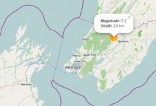 惠灵顿地区马斯特顿附近发生5.2级地震
