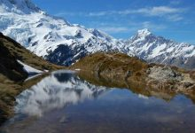 新西兰南岛库克山国家公园锡利冰斗湖 Sealy Tarns